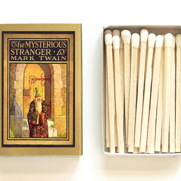 The Mysterious Stranger - Book Covered Matchbox - Mark Twain - Miniature Gift - Pair with a Candle - Light a Mysterious Spark