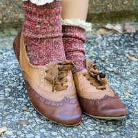 Juniper Hill Brown & Tan Two-Tone Oxford Flats With Stitch Detailing