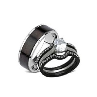 His Hers 4 Piece Black Stainless Steel Matching Wedding Band Ring Set