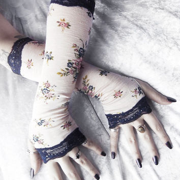 High Society Arm Warmers - Ivory Cream Navy Blue Olive Green Mauve Pink Roses & Lace - Mori Girl Tea Steampunk Noir Yoga Lolita Bohemian