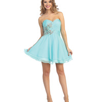 2014 Prom Dresses - Aqua Chiffon & Beaded Floral Strapless Dress