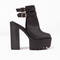 Victoria Black Buckle Platforms