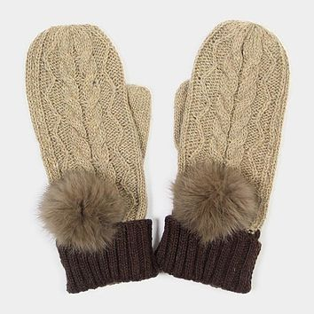 Angora Pom Pom Two Tone Knit Mitten Gloves (Click For More Colors)