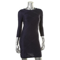 Jessica Simpson Womens Knit Ribbed Trim Sweaterdress