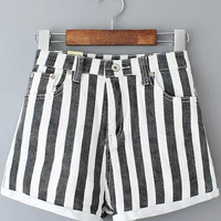 Black and White Vertical Stripe Folded Hem Shorts