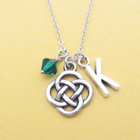 Personalized, Birthstone, Letter, Initial, Celtic, Knot, Irish, Infinity, Silver, Necklace, Birthstone, Birthday, Custom, Letter, Gift