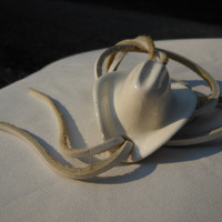 White Cowboy Hat Bolo Tie 20 Inches Ceramic or Porcelain Leather Country Western Wedding Groom Calgary Stampede Men's Jewelry Unisex Ranch