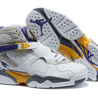 Air Jordan 8 Retro AJ8 VIII White/Yellow/Purple Basketball Shoe US8-13