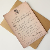 Hogwarts acceptance letter card Harry Potter Card - You have been accepted to Hogwarts