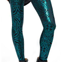 Shiny Teal Revenge of the Burned Velvet Leggings Design 464