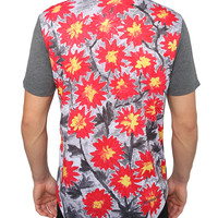 LE3NO Mens Flower Graphic Design T Shirt with Printed Pocket
