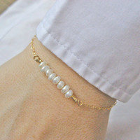 Pearl Bar Bracelet,  White Freshwater Pearl Bar, 14k Gold Filled or Sterling Silver, Wedding Jewelry, Bridesmaid Gift, June's Birthstone