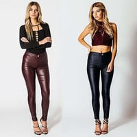 Gogoboi New Fashion Women Jeans Pants High Waist PU Leather Look Trousers Pencil Pants