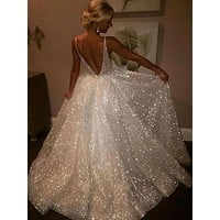 White Open Back Elegant Prom Dresses V Neck Evening Cocktail Dresses Ball Gown