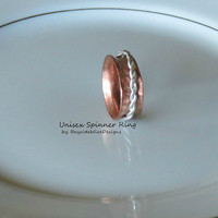 Spinner Ring Recycled Copper with .925 Sterling Silver Braid Unisex Ring Handmade