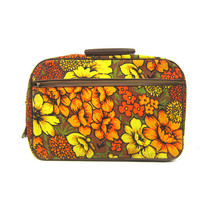 vintage 1960 mod floral canvas suitcase Blooming Flower Print Pattern Yellow Orange Fall Colors fabric tote Small Vacation Resort Travel Bag