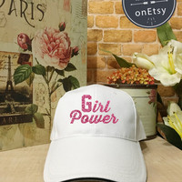 Girl Power Hats, Pink/Gold Daddy Baseball Hat, Baseball Cap Low Profile, Black/White Pinterest Instagram