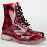 Dirty Laundry Roadie Womens Boots Plaid Red  In Sizes