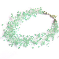 Mint Green Necklace. Wedding Necklace. Bridesmaid Necklace. Beadwork.  Multistrand Necklace.
