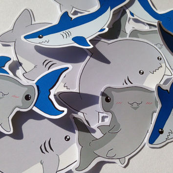 Handmade shark stickers, set of twelve kawaii sharks in three different designs, cute stationary