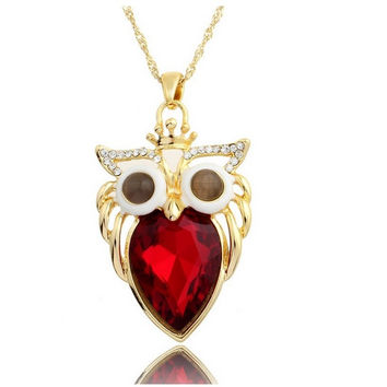 King Owl Collection Gold and Swarovski Crystal Red Belly