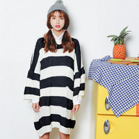 Striped Knitted Loose Fit Longline Pullover Sweater