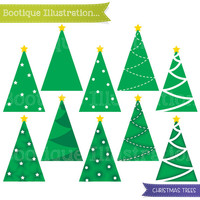 Simple Christmas Tree Clipart. Christmas clipart set includes 10 Christmas tree vector graphics. Commercial Use* Png, Jpeg, Eps included.