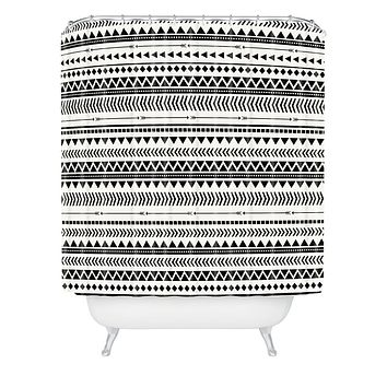 Allyson Johnson Black And White Aztec Pattern Shower Curtain