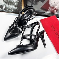 Valentino Fashion Women Rivet Pointed Sandals Shoes High Heels Black
