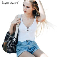 Simplee Apparel Brandy Melville lace up white knitted camisole tank top Summer women tops tees Girls sexy camis bustier crop top