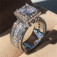 choucong Vintage Ring Princess Cut 3ct 5A Zircon Sona Cz 925 Sterling Silver Engagement Wedding Band Rings for Women Men Gift