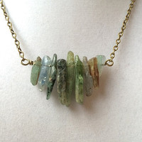 Green Kyanite Spear Row Boho Tribal Bronze Layering Necklace
