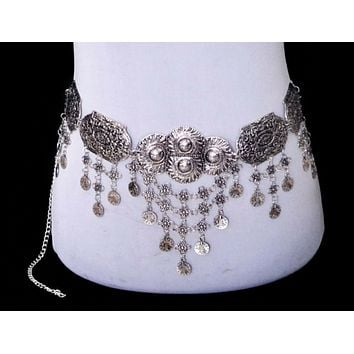 Silver Gypsy Belt Scalloped Coins Festival Fashion Gypset Belly Chain Cast A Spell