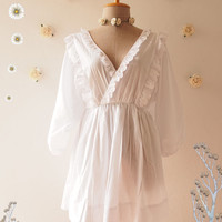 Marie Blouse Sleeve Cotton White Lace Trim Romantic Lace Blouse Summer Tunic Top Beach Tribal Clothing Maternity Clothing- Size S-M (US4-8)