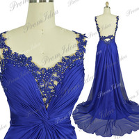 2014 Formal Dress Chiffon Prom Dresses Royal Blue Bridesmaid Dresses Open Back Prom Dress Bridesmaid Dress Wedding Party Dress Ball Gown