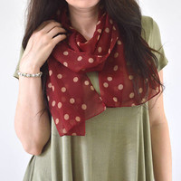 Red Polka Dot Scarf, Summer Scarf, Polka Dot Shawl, Woman Scarf, Gift for Her