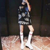 """""""Chrome Hearts"""" Women Loose Casual Personality Multicolor Letter Cross Print Short Sleeve Middle Long Section T-shirt Dress"""