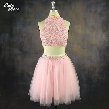 Sexy Two Pieces Pink Homecoming Dresses Graduation Prom Dress Party