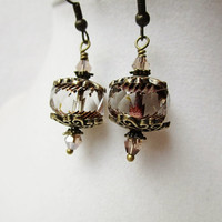 Faceted Cathedral Cut Czech Glass & Nude Crystal Bronze Drop Earrings
