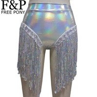 VONE05WA Summer Holographic Festival Rave Wear Clothes Outfits Hologram High Waist Fringe Shorts Women Holographic Fabric Bikini Bottoms