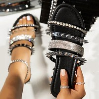 Summer new style flat rhinestone Roman sandals sweet wind with diamond shoes