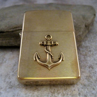 Genuine Brushed Gold Zippo Steampunk Nautical Anchor Cigarette Lighter