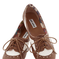 ModCloth Menswear Inspired Spirited Sojourn Flat in Cocoa