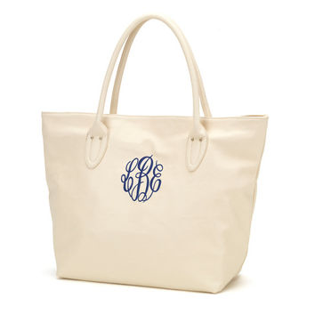 Creme Cream Tote Purse Bag  - Monogrammed Personalized Purse Leather Like