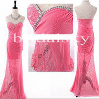 Long Hot Pink Lace Prom Dresses Sweet heart Bridesmaid Dresses See Through Lace Evening Dresses Formal Party Dresses Wedding Events 2014