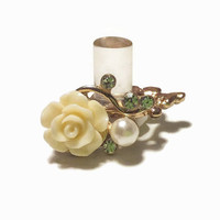 1/2 7/16 00g 0g 2g 4g Buttercream Gold Filigree Rose Dangle Plugs Gauges Tunnels with Clear Rhinestone accent Wedding Bridal Bridesmaid
