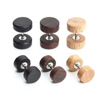3pair Mens Earring Stud 8/10mm Black Wood Dumbbell Barbell Earrings Double Sided Earring Body Piercing Boucle D'oreille F3712