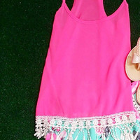 LET SUMMER LAST FOREVER CHIFFON TANK IN HOT PINK