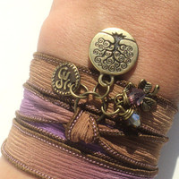 Tree of Life Good Luck Silk Wrap Bracelet Yoga Jewelry Om Namaste Gift For Her Autumn Fall Purple Earthy Unique Gift Under 50 Item Z54