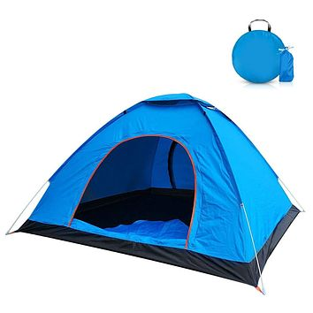2-Person Camping Tent with Carry Bag, Jhua Lightweight Waterproof Dome Automatic Pop-Up Outdoor Sports Tent Sunscreen for Beach, Traveling, Hiking, Camping, Hunting – Blue
